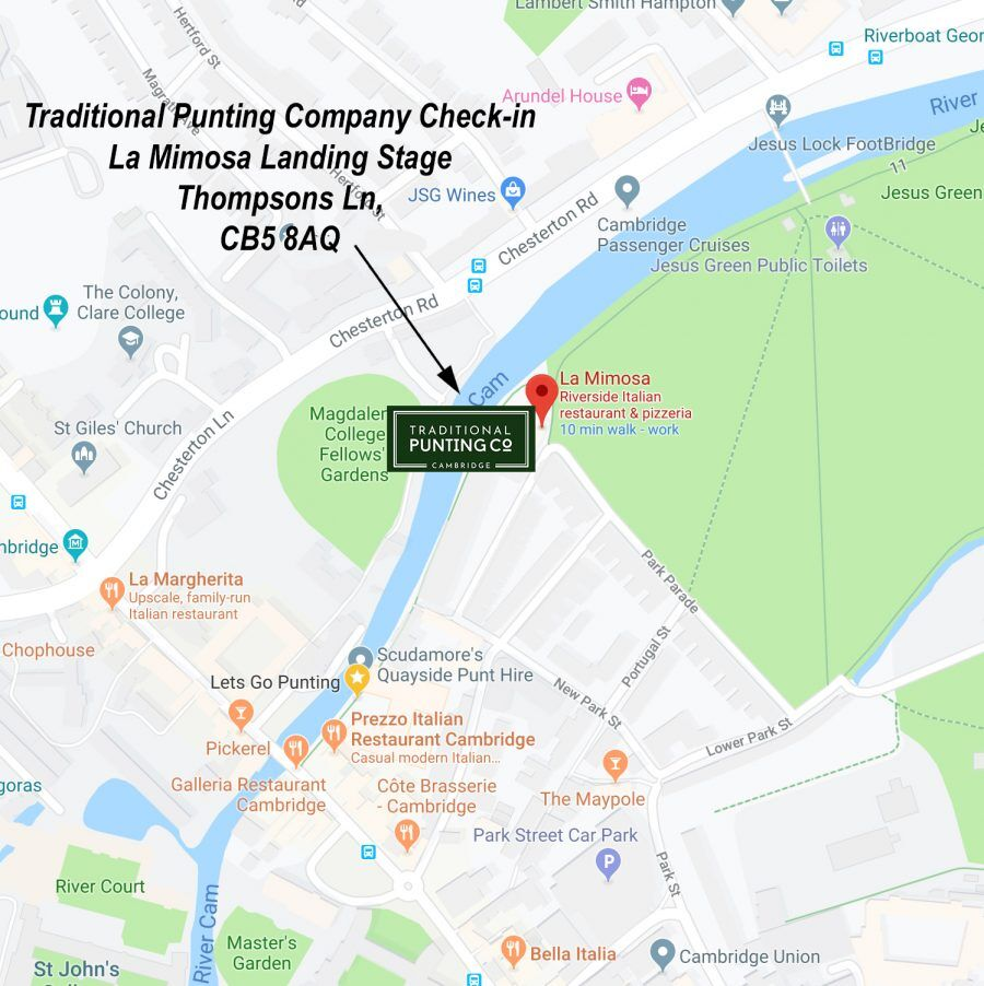 map, how to find us, find us, traditional punting company, meeting point, punting in cambridge, punting cambridge