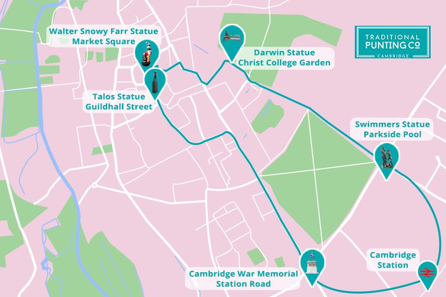 Scavenger Hunt Map of Cambridge Statues, Visit Cambridge